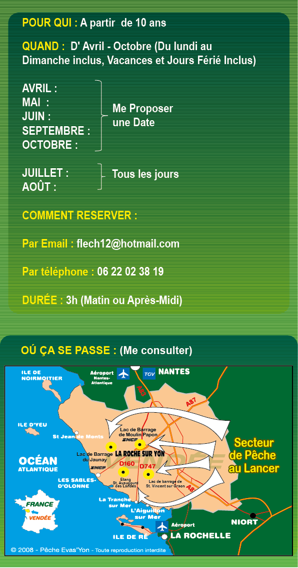 Stage Pêche au Lancer en Vendée