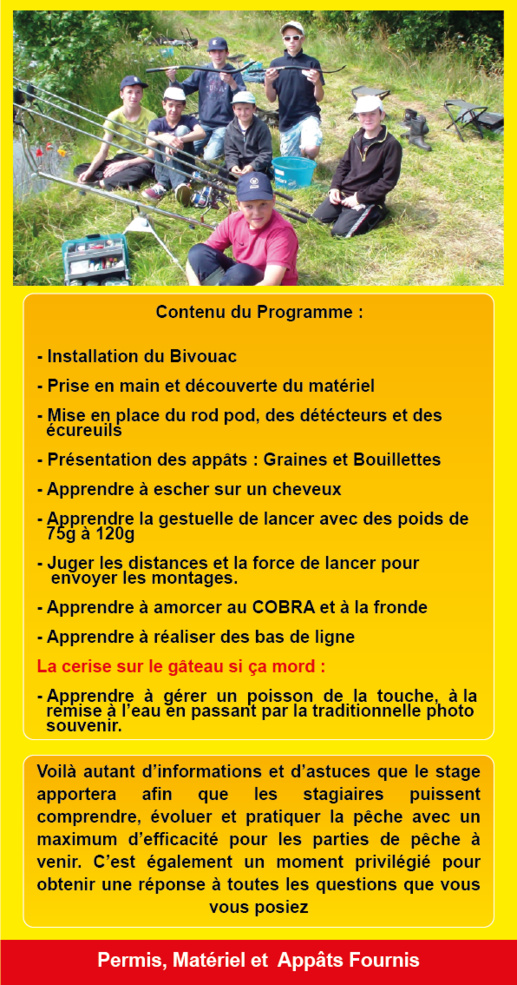 Stage Adolescents Carpe, en Journée Complète, en Vendée