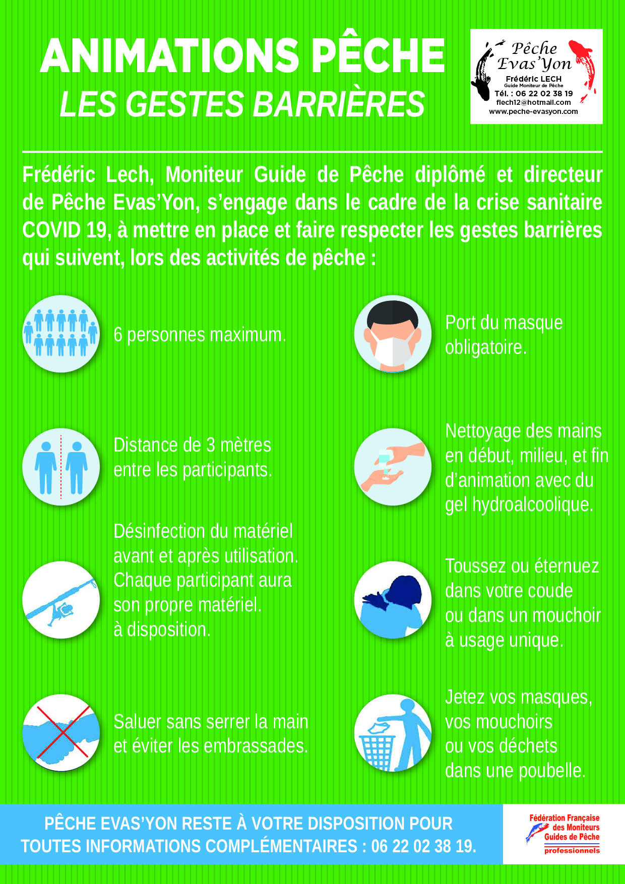 COVID 19 : Protocole Sanitaire Pêche Evas'Yon